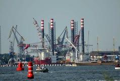 Booreiland in de haven - &amsterdam Royalty-vrije Stock Afbeeldingen