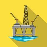 Booreiland op het water Olie enig pictogram in het vlakke Web van de de voorraadillustratie van het stijl vectorsymbool royalty-vrije illustratie