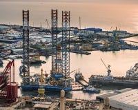 Boorrig leaves shipyard Stock Foto's