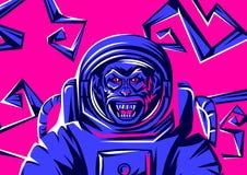 Boos aaphoofd in spacesuit royalty-vrije illustratie