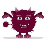 Boos beeldverhaalmonster Het gehoornde monster van Halloween Royalty-vrije Stock Foto