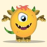 Boos beeldverhaalmonster Het gele en gehoornde monster van Halloween Stock Foto