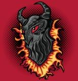 Boos eng de verschrikkingsgezicht van het duivelsdemon in vlammenillustratie Stock Afbeeldingen