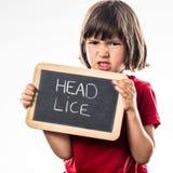Boos jong kind die een schoollei houden als gezondheidszorgschild Royalty-vrije Stock Foto