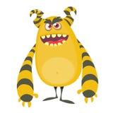 Boos koel beeldverhaal vet monster Oranje en gehoornd vectormonsterkarakter vector illustratie