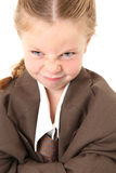 Boos Meisje in Kostuum Bagg Royalty-vrije Stock Afbeeldingen