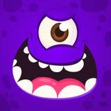 Boos Monster Één Ooggezicht Vector illustratie Halloween-beeldverhaalmonster royalty-vrije stock afbeeldingen