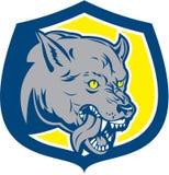 Boos Retro Wolf Wild Dog Head Shield Royalty-vrije Stock Foto's