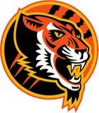 Boos Tiger Side Retro Royalty-vrije Stock Afbeelding