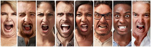 Boos, woede en gillende mensen royalty-vrije stock afbeelding