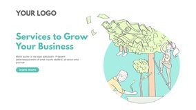 Boost business banner concept in linear style. Line art teamwork business concept with money on tree and workers. Landing page vector illustration