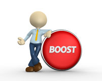Boost. 3d people - man, person and big button. Boost Royalty Free Stock Image