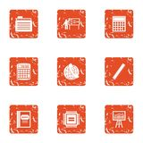 Boost the economy icons set, grunge style. Boost the economy icons set. Grunge set of 9 boost the economy vector icons for web isolated on white background Royalty Free Stock Photos