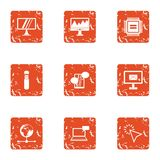 Boost icons set, grunge style. Boost icons set. Grunge set of 9 boost vector icons for web isolated on white background Royalty Free Stock Photos