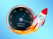 Boost internet speed meter with toy rocket Royalty Free Stock Image