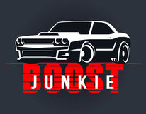 Boost muscle car t-shirt graphics. Racing muscle car typography. T-shirt graphics. Boost junkie lettering. Dragster vector illustration Royalty Free Stock Image