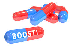 Boost! pills concept with pills, 3D rendering Stock Photo