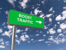 Boost traffic. Green highway sign spelling boost traffic with directional arrow against blue sky with clouds Royalty Free Stock Photography