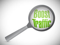 Boost traffic magnify glass review. illustration Stock Photos