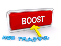 Boost web traffic. Concept image, big red button Stock Photography
