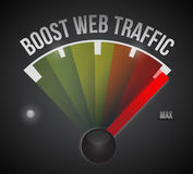 Boost web traffic speedometer. illustration Stock Photos