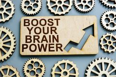Free Boost Your Brain Power Sign On Wooden Plate Stock Images - 155001754