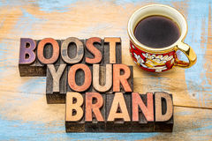 Boost your brand  in wood type Stock Image
