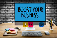 BOOST YOUR BUSINESS , BOOST YOUR INCOME , Business, Technology,. Internet and network Stock Photography