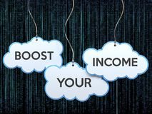 Boost your income on cloud banner Stock Photo