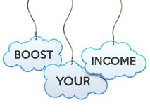 Boost your income on cloud banner Stock Photos