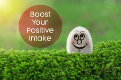Boost your positive intake. The text boost your positive intake with stone smile happy face on green moss and sunshine light background royalty free stock photos