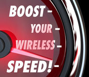 Boost Your Wireless Speed Measure Performance Speedometer royalty free illustration