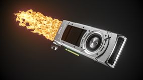 Boosted graphic card with fire flame. 3d stock photo