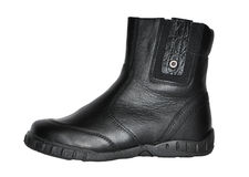 Boot. Black winter man's boot isolated on white background Stock Image