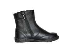 Boot. Black winter man's boot isolated on white background Royalty Free Stock Photo
