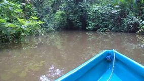 Boot auf einem Fluss stock footage