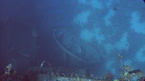 Boot auf Meeresgrund nahe Salem Express ruiniert unter Wasser im Roten Meer in Ägypten stock footage