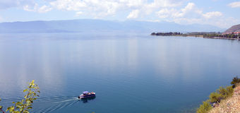 Boot auf Ohrid See Stockfotos