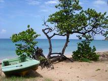 Boot auf tropischem Strand Stockfoto