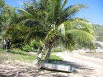 Boot auf Ufer unter Palme auf tropischem Strand Stockfotografie