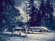 Boot auf Winterparken Stockbilder