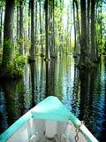 Boot auf Zypressesumpfgärten Nord-Carolina Stockbilder