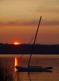 Boot bij het meer Stock Foto
