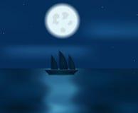 Boot bij nacht royalty-vrije illustratie