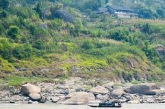 Boot bij Yangtze-rivier stock foto