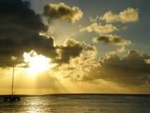 Boot bij zonsondergang Stock Foto