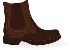 Boot. Brown  boot isolated on white. Vector illustration Stock Photos