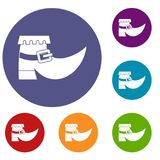 Boot with buckle icons set Royalty Free Stock Photo