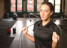 Attractive Brunette Woman Fitness Boot Camp Royalty Free Stock Images