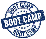 Boot camp blue grunge round  stamp Stock Images